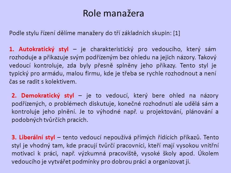 Role manažera Podle stylu řízení dělíme manažery do tří základních skupin: [1]